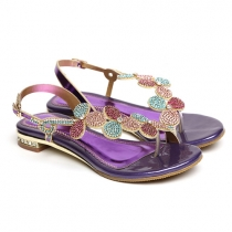 Fashion Rhinestone Flowers Flat Heel Thong Sandals