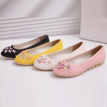 Fashion Round Toe Flat Heel 3D Flowers Peas Shoes