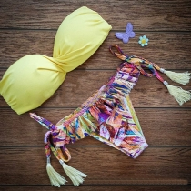 Sexy Bloemen Print Bandeau Bikini Set