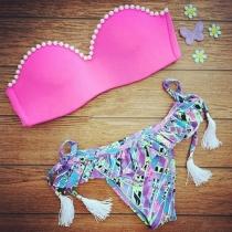 Sexy Parels Bloemen Print Bandeau Bikini Print