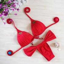Sexy Effen Kleur Push-up Halter Bikini set