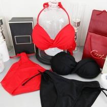 Sexy Effen Kleur met Beugel Halter Bikini Set