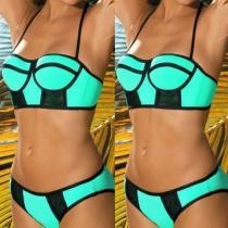 Sexy Contrast Kleur Met Beugel Halter Bikini Set