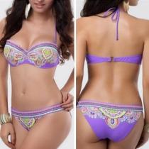 Etnische Stijl Bloemen Print Bandeau Bikini Set