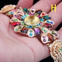 Bohemian Stijl Kleurrijke Kristal Bloemen Bergkristal Armband Horloge