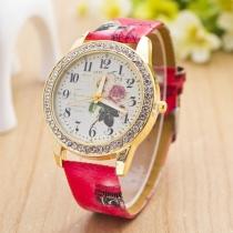 Retro PU Leer Horloge Armband Bergkristal Rond wijzerplaat Vrouwen kwarts Horloges