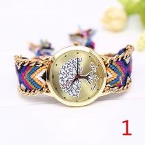 Mode Kleurrijk Gevlochten Horloge Armband Levens-Boom Rond wijzerplaat Kwarts Horloges