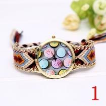 Mode Kleurrijk Gevlochten Horloge Armband Rond wijzerplaat Kwarts Horloges