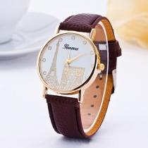 Mode PU Leer Horloge Armband Arc de Triomphe & Eiffel Toren Patroon Kwarts Horloges