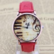 Retro PU lederen horloge band Piano patroon ronde wijzerplaat Quartz Horloges