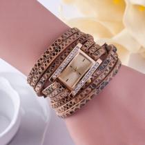 Modieuze Luipaard PU-Leer Horlogeband Met Bergkristal Kwartshorloge