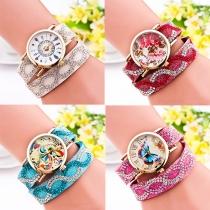 Bergkristal PU Leer Horloge Band Rond Wijzer Kwarts Horloges