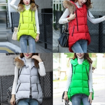 Mode Eenkleurig Hoog-Laag Zoom Capuchon Vest