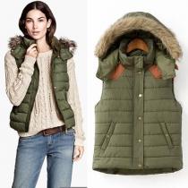 Mode Contrast Kleur Afneembaar Capuchon Vest