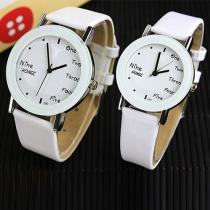 Mode Populair PU Leer Stel Horloges