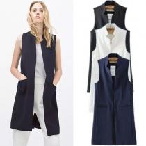 Mode Eenkleurig Kraag Mouwloos Zak Spleet Taille Vest