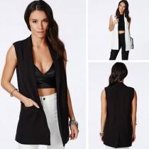 Mode Eenkleurig Mouwloos Omlaag Gedraaide Kraag Vest