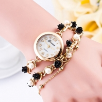 Mode Vrouwen Parel Bloem Armband Horloge