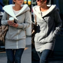 Mode Effen Kleur Lange Mouw Capuchon Dunne Sweatshirt Vest