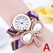 Mode Bergkristal Strik PU Leer Horloge Band Quartz Horloges