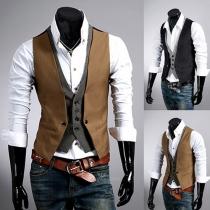 Mode Contrast Kleur Slim Fit Namaak Tweedelig Mannen Vest