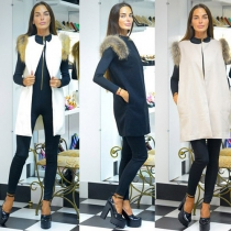 Mode Effen Kleur Ronde Hals Mouwloos Bont Vest Cardigan Jas