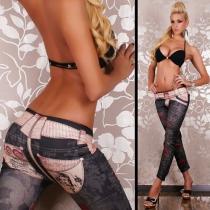 Sexy Lage-Taille Geschilderd Geprint Leggings