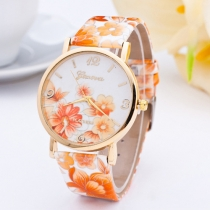 Mode PU Leer Horloge Band Ronde Wijzerplaat Bloemen Print Horloges