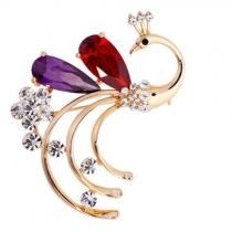 Mode Bergkristal Kristal Pauw Gevormd Broche