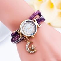 Mode Bergkristal PU Leer Armband Rond Wijzer Horloge