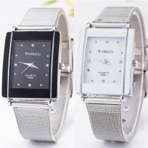 Mode Roestvrij Staal Armband Vierkant Wijzer Kwarts Horloges