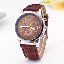 Mode PU Leer Armband Rond Wijzer Kwarts Horloges