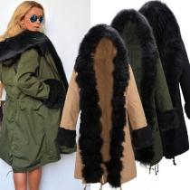 Mode Lange Mouwen Capuchon Namaakbont Gesplitst Warme Overjas