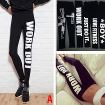 Mode Letters Bedrukt Hoge Taille Rekbare Leggings