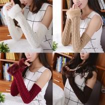 Mode Namaakbont Gebonden Vingerloos Lange Gebreide Handschoenen