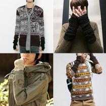 Mode Effen Kleur Gebreid Vingerloze Lange Handschoenen