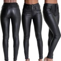 Mode Hoge Taille Slanke Pasvorm Kunstlederen Broek