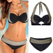 Sexy Contrast Kleur Halter Bikini