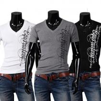 Mode Letters Bedrukt Korte Mouwen V-nek Heren T-shirt