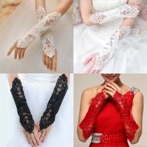Mode Effen Kleur Kant Gebonden Vingerloze Handschoenen Wedding