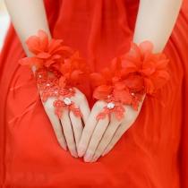 Romantische Stijl 3D Bloemen Kant Gebonden Vingerloze Handschoenen Wedding