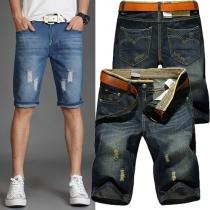 Modern 2 Zijzakken Bijgesneden Versleten Jeans Heren