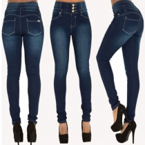 Sexy Knoppenlijst  Hoge Taille Skinny Jeans Dames