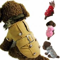 Leuke Stijl Effen Kleur Knoppenlijst Wollen Jas voor Honden