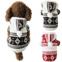 Schattige Stijl Sneeuwvlok Bedrukt Knoppenlijst Capuchon Gewatteerde Jas voor Honden