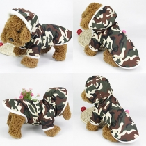 Modern Knoppenlijst Capuchon Camouflage Jas voor Honden