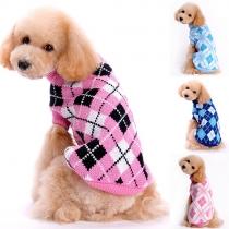 Stijlvolle Contrasterende Kleuren Rolkraag Geruitw Sweater voor Honden