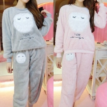 Het Leuke Uil Lange Mouwen Ronde Nek Warm Pyjama