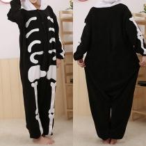 Modern Skelet Capuchon Eendelig Pyjama