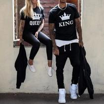 Modern Kroon Letters Bedrukt Korte Mouwen Ronde Nek Koppel T-shirt
